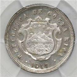 Costa Rica, silver 10 centavos, 1917, PCGS AU58, ex-Fred Mayer.