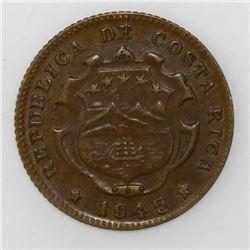 Costa Rica, red brass 25 centimos, 1945.