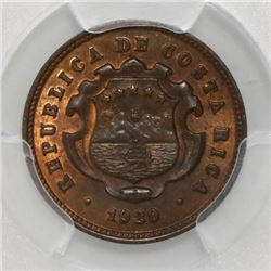 Costa Rica, 10 centimos, 1929, PCGS MS65 RB. ex-Mayer