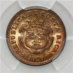 Costa Rica, 5 centimos, 1929, PCGS MS65 RD. ex-Mayer