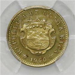 Costa Rica, 5 centimos, 1940, PCGS UNC detail / lacquer.