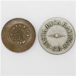 Lot of two Costa Rican tokens: 10 centavos (white metal), Costa Rica Railway (1870s); 5 centavos (co