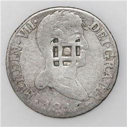 Cuba (Trinidad/Santiago/Principe), 2 reales, lattice countermark (1841) on a Madrid, Spain, bust 2 r