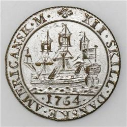 Danish West Indies, contemporary (circulating) counterfeit in silvered bronze of a 12 skilling of 17
