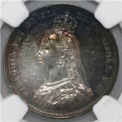 Great Britain (London, England), shilling, Victoria, 1887, Jubilee head, NGC UNC details / surface h