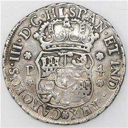 Guatemala, pillar 4 reales, Charles III, 1761P.