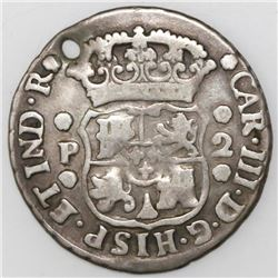 Guatemala, pillar 2 reales, Charles III, 1764P.