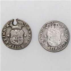 Lot of two Guatemala, pillar 1/2R, both ex-Richard Stuart: Ferdinand VI, 1755, and Charles III, 1763