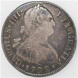 Guatemala, bust 4 reales, Charles IV, 1792M.