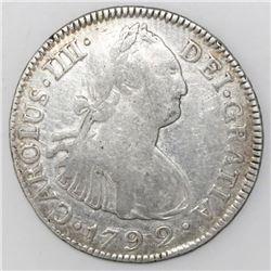 Guatemala, bust 2 reales, Charles IV, 1792M, ex-Richard Stuart.