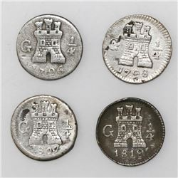 Lot of four Guatemala 1/4R: 1796, 1798, 1807, and 1819.