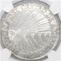 Guatemala (Central American Republic), 8 reales, 1824M, NGC XF details / surface hairlines.