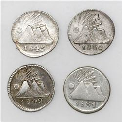 Lot of Guatemala (Central American Republic), 1/4R: 1843, 1842/29, 1840/30, and 1831.