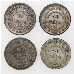 Lot of four Honduras 10 centavos, 1884-1900.