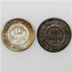 Lot of two Honduras 10 centavos, 1895.