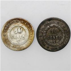 Lot of two Honduras 10 centavos, 1895.