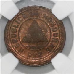 Honduras, 2 centavos, 1910, with CENTAVOS, coin alignment, NGC MS 64 RB, ex-Dana Roberts (stated on