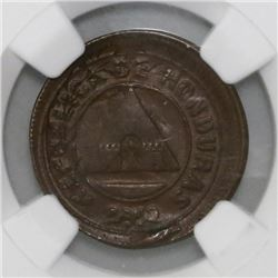 Honduras, 2 centavos, 1910, struck over a Honduras 1 centavo of 1908, NGC MS 63 BN.