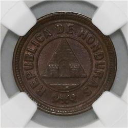 Honduras, 2 centavos, 1920, NGC MS 63 BN, finest known in NGC census.