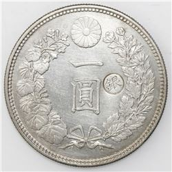 Tokyo, Japan, 1 yen, Meiji 14 (1881), with Gin countermark to right (1897).