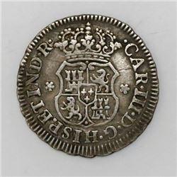 Mexico City, Mexico, pillar 1/2 real, Charles III, 1768/7M.