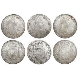 Lot of six Mexico City, Mexico, bust 8 reales, Charles IV and Ferdinand VII: 1797FM, 1805TH, 1808TH,