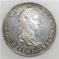 Mexico City, Mexico, bust 2 reales, Ferdinand VII, 1816JJ.