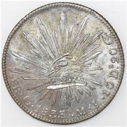 Guanajuato, Mexico, cap-and-rays 8 reales, 1833MJ, straight J, three dots after date.