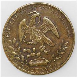 "Guanajuato, Mexico, brass 1/8 real ""octavo,"" 1856."