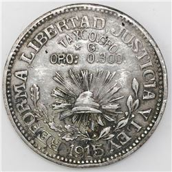Guerrero, Mexico, silver-and-gold 1 peso, 1915.