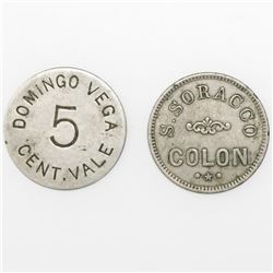Lot of two Panama, base metal 5 cents tokens, ca. mid-1800s, S. Soracco and Domingo Vega.