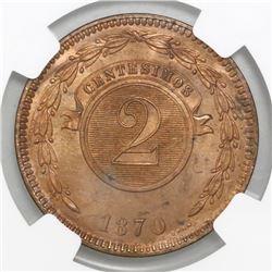Lot of two Paraguay, copper 2 centesimos, 1870-SHAW: NGC MS 64 RB and MS 63 RB, ex-Heaton Mint Archi