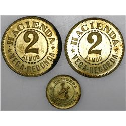 Lot of five Puerto Rico brass hacienda tokens, Vega Redonda, in denominations of 5 almud, 2 almud (t