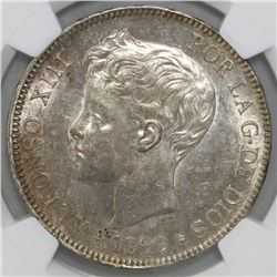 Madrid, Spain, 5 pesetas, 1899SG-V, Alfonso XIII (adolescent bust), with 18-99 inside stars, NGC MS