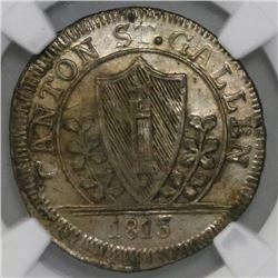 Saint Gallen, Switzerland, 1 batzen, 1813K, NGC UNC details / environmental damage.
