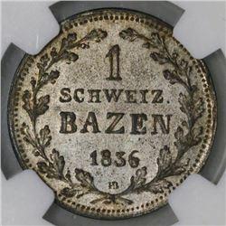 Graubunden, Switzerland, 1 batzen, 1836HB, normal 1, NGC AU 55.
