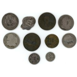 Lot of ten silver and copper minors with various countermarks, 1700s-1800s, some possibly rare.