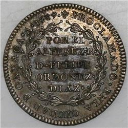 Oaxaca, Mexico, silver proclamation medal, Charles IV, 1789.