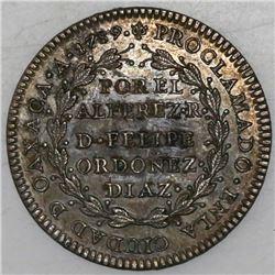 Oaxaca, Mexico, silver proclamation medal, Charles IV, 1789.