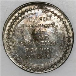 San Luis Potosi, Mexico, silver proclamation medal, Charles IV, 1790.