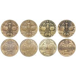 "Lot of four Panama brass ""Opening of the Panama Canal"" medals of 1914."