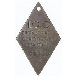 Panama, brass diamond-shaped metal check, I.C.C. Engineering & Construction Department, early-1900s.