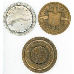 Lot of three large medals commemorating Thatcher Ferry Bridge in Panama (1962), Panama