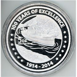 Panama, large silver medal, 1914-2014, 100th anniversary of the Panama Canal Pilots Association.