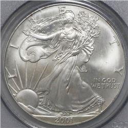 USA (Philadelphia mint), $1 silver eagle, 2001, PCGS Gem UNC / 9-11-01 WTC Ground Zero Recovery.