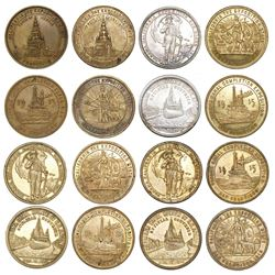 Lot of eight brass / gilt brass / silver US  so-called dollars,  Panama-Pacific International and Pa