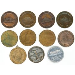 Lot of eleven base metal US  so-called dollars,  Panama-Pacific Exposition Fund state medals, 1915,