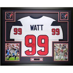 J.J. Watt Signed Texans 35  x 43  Custom Framed Jersey (JSA COA)