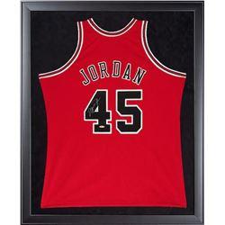 Michael Jordan Signed Bulls 32x44 Custom Framed Authentic Mitchell  Ness #45 Jersey (UDA COA)