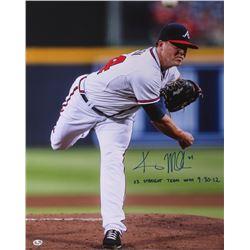 Kris Medlen Signed Braves 17x21 Photo Inscribed  23 Straight Team Wins 9-30-12  (Radtke COA)